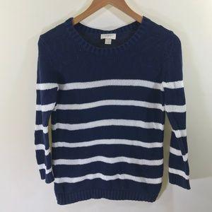LOFT Navy Blue and White Stripe Sweater Size M
